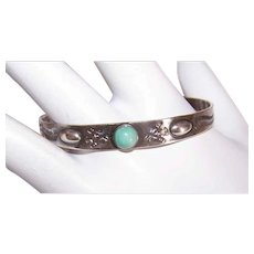 Fred Harvey STERLING SILVER Bracelet - Turquoise, Native American, Baby, Cuff