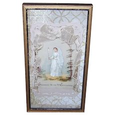 ANTIQUE VICTORIAN First Communion Card - Celluloid, Hand Painted, Wood Frame
