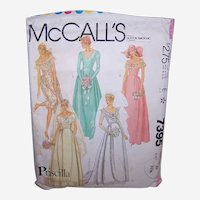 Vintage WEDDING DRESS Pattern - McCalls 7395, Priscilla, Bridesmaid