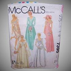 Vintage WEDDING DRESS Pattern - McCalls 7395, Priscilla, Bridesmaid