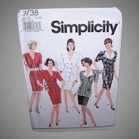 Vintage MISSES DRESS Pattern - Simplicity 7738, 2 Piece Dress