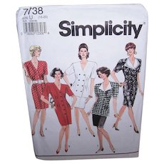 Vintage MISSES DRESS Pattern - Simplicity 7738, 2 Piece Dress