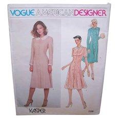 Vintage MISSES DRESS Pattern - Vogue American Designer 2396, Kasper