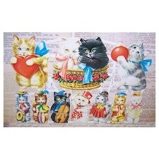 Vintage WEST GERMANY Die Cuts - Cats, Ges Gesch, 7034, Paper