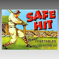 Vintage PAPER LABEL - Safe Hit, Baseball Player, Texas Vegetables