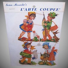 Vintage SUSAN ALEXANDER Die Cuts - Germany, PZB, Children, Hunting, Washing the Dog
