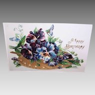 Vintage UNUSED Postcard - Happy Birthday, Pansies, Embossed
