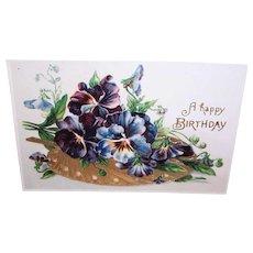 Vintage UNUSED Postcard - Happy Birthday, Pansies, Embossed