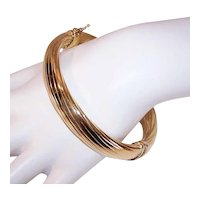 Italian Sterling Silver Vermeil Hinged Bangle Bracelet