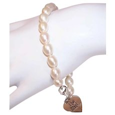 Vintage FRESHWATER PEARL Bracelet - I am Loved, Sterling Silver, Heart, Valentines Day