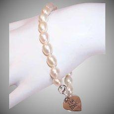 Vintage FRESHWATER PEARL Bracelet - I am Loved, Sterling Silver, Heart, Valentines Day