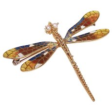 18K Gold Enamel Cultured Pearl Dragonfly Pin