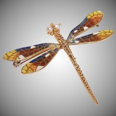Vintage 18K GOLD Pin - Art Nouveau Revival, French, Dragonfly, Enamel, Cultured Pearl, Brooch