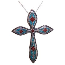 Vintage NATIVE AMERICAN Pendant - Sterling Silver, Turquoise, Red Coral, Cross