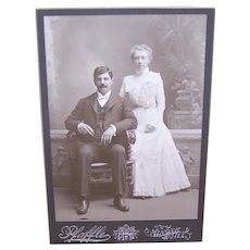 C.1900 Black/White Wedding Cabinet Photo from Minonk, Ill