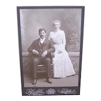 Edwardian B&W Photograph Cabinet Card - Wedding Couple