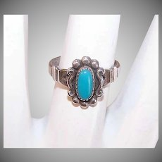 Vintage STERLING SILVER Ring - Native American, Turquoise, Bell Trading Post