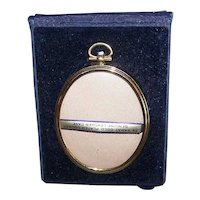 Unused Vintage Oval Gold Plated Travel Frame in Original Blue Leather Velvet Case