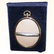 Vintage TRAVEL FRAME - Gold Plated, Oval, Original Case, Unused