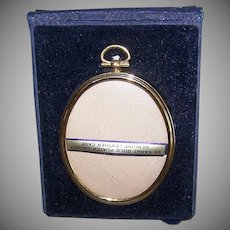 Vintage TRAVEL FRAME - Gold Plated, Oval, Original Case, Unused