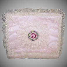 Vintage LOVE NOTE Holder - Hanky Holder, Embroidered, Lace, Pink Silk