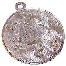 Vintage STERLING SILVER Charm - Disc, Zodiac, Sign, Taurus, The Bull, Round