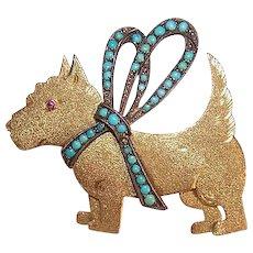ANTIQUE EDWARDIAN 14K Gold Pin - Scotty, Dog, Scottish Terrier, Turquoise, Silver
