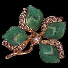 ART NOUVEAU 14K Gold Pin - Green, Enamel, Natural, Pearl, 4, Four, Leaf, Clover