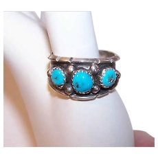 Vintage STERLING SILVER Ring - Native American, Turquoise, Signed, ML