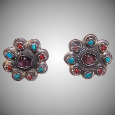 Vintage STERLING SILVER Earrings - Glass Bead, Mexican, Matl Design, Clipbacks
