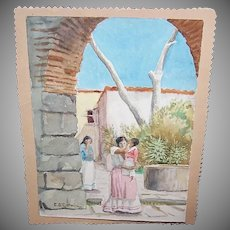 Vintage WATERCOLOR by C. D. Gorman - Mexican, Southwestern, Mother, Child