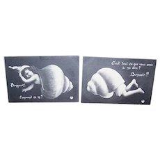 Set/2 EDWARDIAN Postcards - French, Hello, Good Night, Girl, Shell, Unused