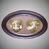 Vintage FRAMED Print - Cupid Awake, Cupid Asleep, Tinted, Sepia, Brown, Tin Frame