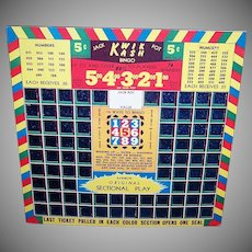 Vintage KWIK KASH Bingo Card - Gambling, Pull Card, 5 Cent, Great Graphics