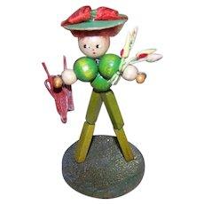 ART DECO Souvenir Figure - Stand Up, Gardener, Wood Beads, Toy, Handmade