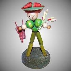 ART DECO Souvenir Figure - Stand Up, Gardener, Wood Beads, Toy, Handmade