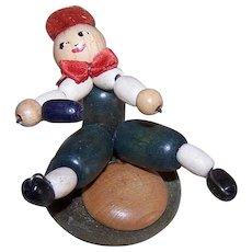 ART DECO Souvenir Figure - Boy, Sled Position, Wood Beads, Toy, Handmade
