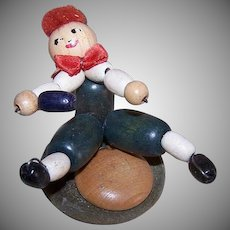 ART DECO Souvenir Figure - Boy, Sled Position, Wood Beads, Toy, Handmade