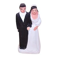 Dated 1921 Made in Japan Bisque Chalkware Wedding Couple Cake Topper
