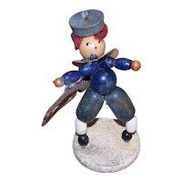 ART DECO Souvenir Figure - Stand Up, Sailor, Bugle, Toy, Handmade