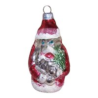 Vintage Made in West Germany Christmas Glass Ornament - Santa Claus with Christmas Tree