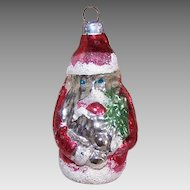 Vintage GERMAN Glass Ornament - Santa Claus, Christmas Tree, WEST Germany