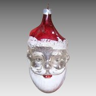 Vintage GERMAN Glass Ornament - Double Sided, Santa Claus, WEST Germany