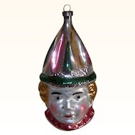 Vintage GERMAN Glass Ornament - Clown, Jester, WEST Germany, Pink, Green