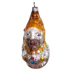 Vintage GERMAN Glass Ornament - Punch, Clown, Court Jester, WEST Germany