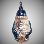 Vintage GERMAN Glass Ornament - Blue, Santa Claus, Christmas Tree, WEST Germany