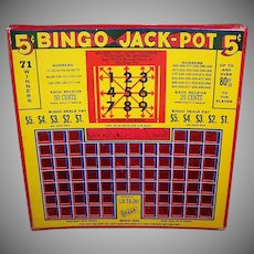 Vintage BINGO JACK-POT Card - Gambling, Pull Card, 5 Cent, Great Graphics