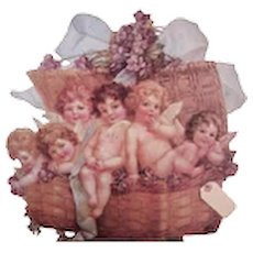 THE WINSLOW Papers - Lavender, Basket, Angels, Violets, Stand Up, Card, Ornament