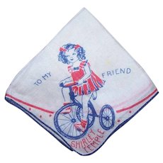 Vintage SHIRLEY TEMPLE Handkerchief - Hankie, To My Friend, Bicycle, Red, White, Blue