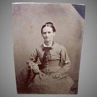 VICTORIAN Tintype - Lady, School Marm, Seated